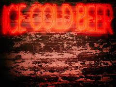 Neon Sign Red Ice Cold Beer Stock Illustration