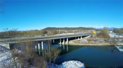 Highway bridge on winter clear day 4K Stock Footage