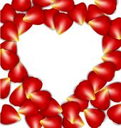 heart frame from red rose petals - stock illustration