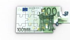 Animated Puzzles with Image of 100 Euro Stock Footage