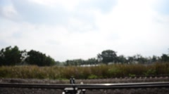 View from train on railway start at Bangkok go to Ayutthaya at Thailand Stock Footage