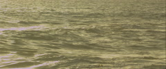 Waves breaking at sunset, anamorphic - stock footage