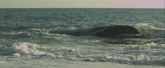 Waves hitting a rock, anamorphic Stock Footage