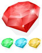 Set of gems in different color Stock Illustration
