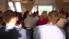 Business conference. The audience listened to the speaker - stock footage