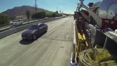 First responders runs fire truck leaving emergency red pursuit freeway Stock Footage