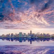 Stock Photo of manhattan new york skyline at sunset east river