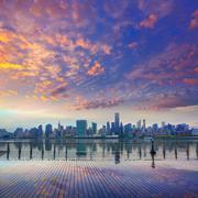 manhattan new york skyline at sunset east river - stock photo