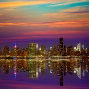manhattan new york sunset skyline from east - stock photo