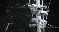 Ski lift pulley and cable Stock Footage