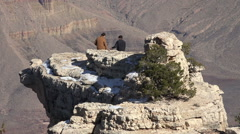 Grand Canyon beautiful boys on cliff lookout point HD 089 Stock Footage