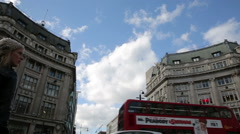 Oxford circus london crossing with shops and pedestrians Stock Footage