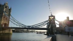 tower bridge london with river thames in the morning - stock footage
