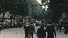 Barcelona 1950s: people walking in la rambla Stock Footage