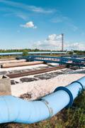 group from the big sedimentation drainages. water recycling, settling, purifi - stock photo