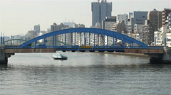 Time Lapse of Tourists Ferry Passing Under a Bridge  - Tokyo Japan Arkistovideo