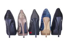 five pair shoes of high heels - stock photo