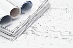 Stock Photo of Construction blueprints