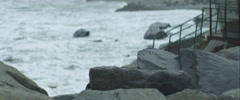 Rock on the beach, anamorphic Stock Footage