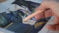 Woman artis sketching Stock Footage