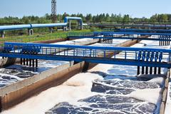 Water recycling on sewage treatment station Stock Photos