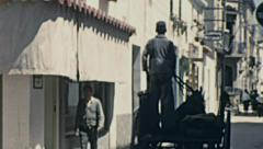 Sitges 1950s: horse carriage in the old town Stock Footage