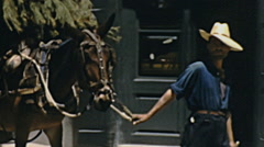 Sitges 1950s: horse carriage in the old town - stock footage