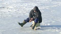Ice fishmen Stock Footage