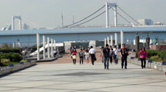 Time Lapse of Pedestrians with the Peace Bridge - Tokyo Japan Stock Footage