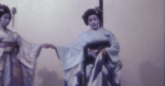 Japan 70s 16mm Two Geisha Theater Stock Footage