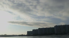 Buildings and clouds in winter day Stock Footage