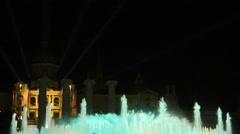 Magic fountain Barcelona at night color blue Stock Footage