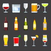 Alcohol Drinks Icons Set - stock illustration