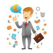 Businessman And Business Icons Stock Illustration