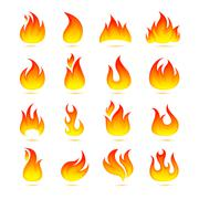 Fire Icons Set - stock illustration