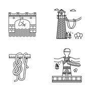 Black outline vector icons for rope jumping - stock illustration