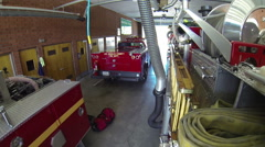 first responder fire truck leaving station emergency red responding dramatic - stock footage
