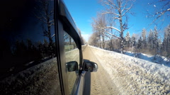 Reflexion of winter wood in car glass. Car movement on winter road. - stock footage