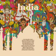 India cultural symbols patterns poster Piirros