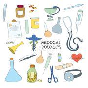 Medical symbols emblems doodle set - stock illustration