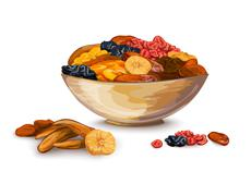 Dried Fruits Composition Stock Illustration