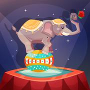 Circus Elephant Poster - stock illustration