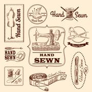Sewing Emblems Set Stock Illustration