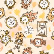 Clock Seamless Pattern - stock illustration
