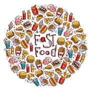 Fast Food Circle Stock Illustration