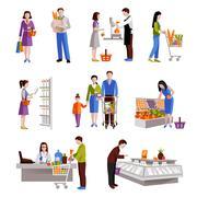 People In Supermarket - stock illustration