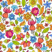 Flowers Pattern Colored Stock Illustration