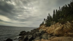 Bass Harbor Head Light Ominous Clouds Stock Footage