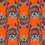Seamless pattern fabric with unusual tribal animal Stock Illustration