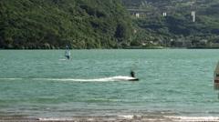 Kitesurf-windsurf on the lake-003 Stock Footage
